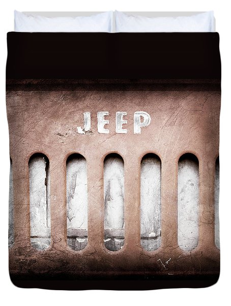 Duvet Cover featuring the photograph 1957 Jeep Emblem -0597ac by Jill Reger