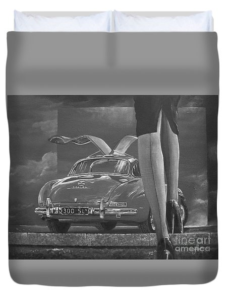 1957 Mercedes Benz 300 Sl Gullwing Coupe In Black And White Duvet Cover