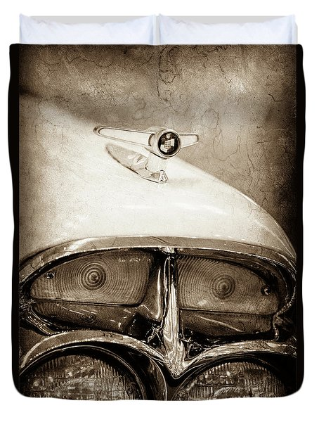 Duvet Cover featuring the photograph 1957 Mercury Turnpike Cruiser Emblem -0749s by Jill Reger