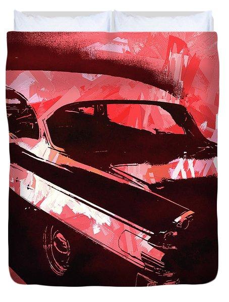 1957 Pontiac Super Chief Red Pop Duvet Cover
