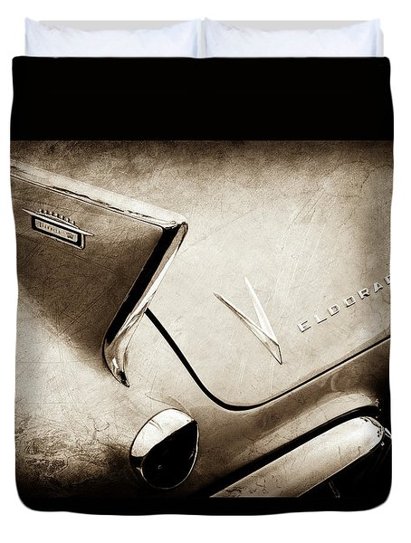 Duvet Cover featuring the photograph 1958 Cadillac Eldorado Biarritz Taillight Emblems -0255s by Jill Reger