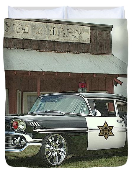 Duvet Cover featuring the photograph 1958 Chevrolet Sheriffs Car by Tim McCullough