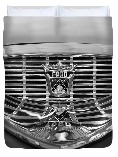 Duvet Cover featuring the digital art 1958 Ford Fairlane Sunliner Intake Bw by Chris Flees