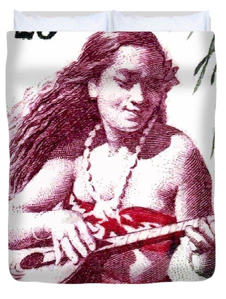 1958 French Polynesia Guitar Girl 25fr Postage Stamp Duvet Cover