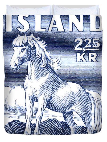 1958 Icelandic Horse Postage Stamp Duvet Cover