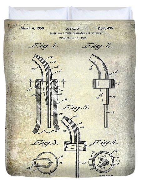1958 Liquor Bottle Pour Patent Duvet Cover