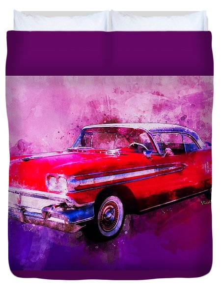 1958 Oldsmobile Hardtop With Continental Kit In Tow Duvet Cover