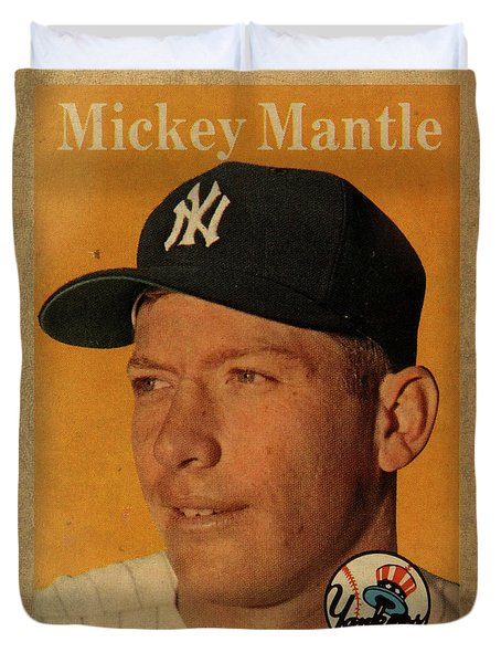 1958 Topps Baseball Mickey Mantle Card Vintage Poster Duvet Cover by Design Turnpike