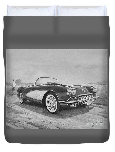 1959 Chevrolet Corvette Cabriolet In Black And White Duvet Cover