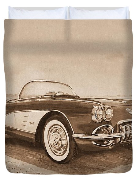 1959 Chevrolet Corvette Cabriollet In Sepia Duvet Cover