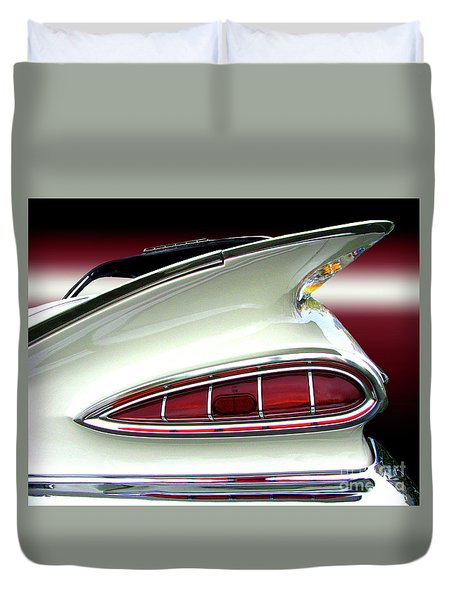 1959 Chevrolet Impala Tail Duvet Cover by Peter Piatt