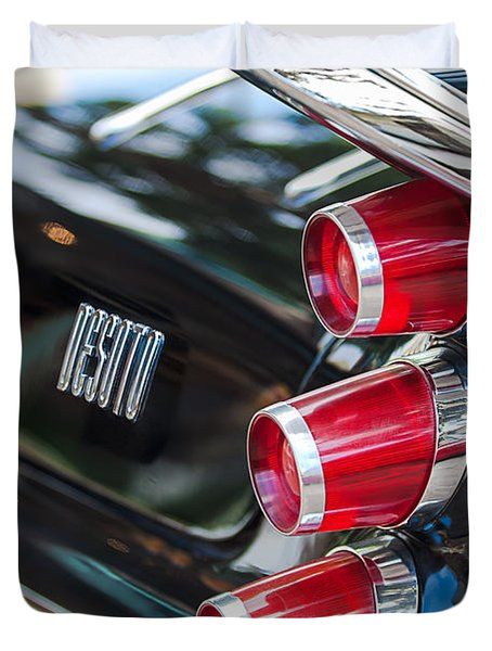 Duvet Cover featuring the photograph 1959 Desoto Adventurer Hardtop Coupe 2-door Taillight Emblem by Jill Reger