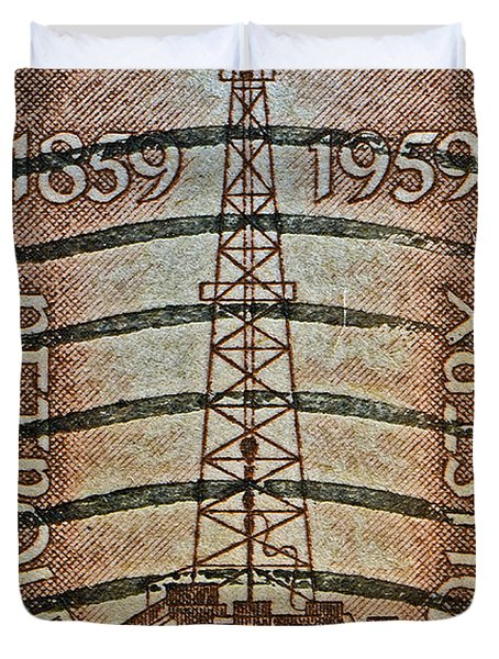 1959 First Oil Well Stamp Duvet Cover