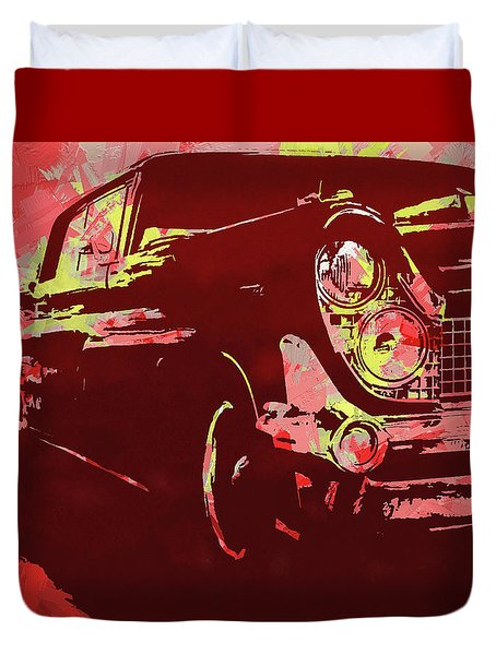 1959 Lincoln Continental Red Pop Duvet Cover