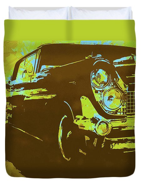 1959 Lincoln Continental Yellow Pop Duvet Cover