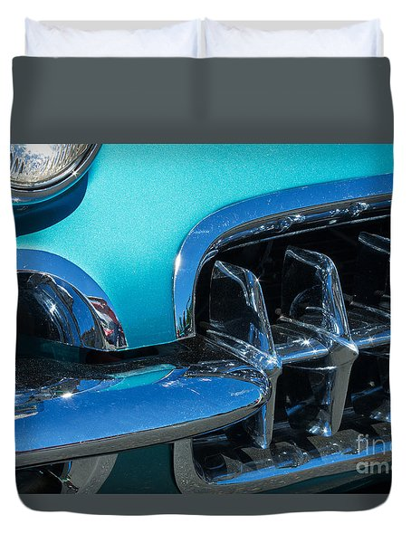 1960 Chevy Corvette Headlight And Grill Abstract Duvet Cover