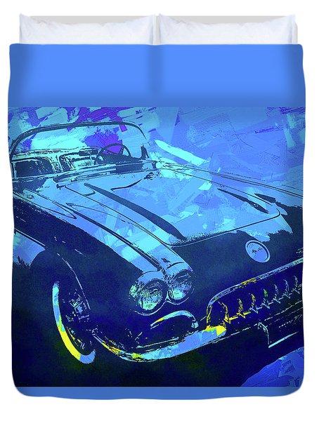 1960 Corvette Pop Blue Duvet Cover