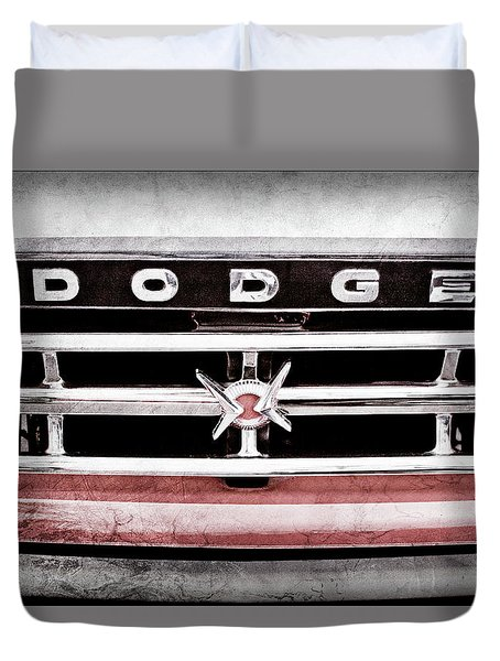 Duvet Cover featuring the photograph 1960 Dodge Truck Grille Emblem -0275ac by Jill Reger