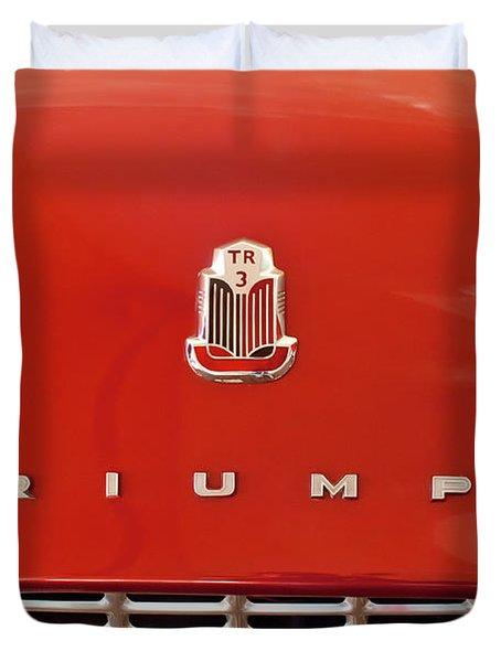 1960 Triumph Tr3 Emblem Duvet Cover