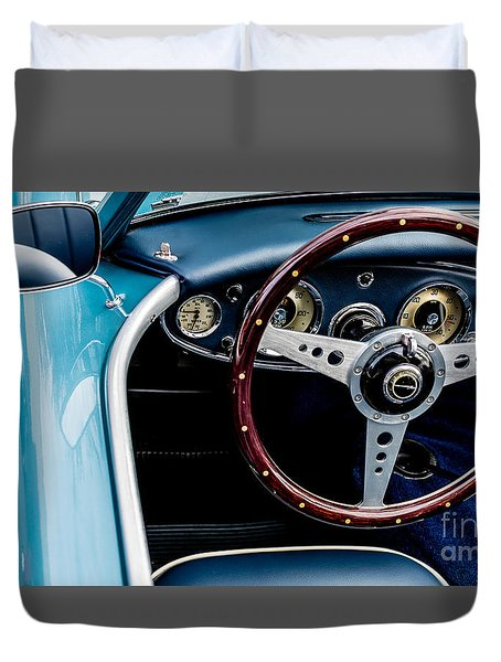 Duvet Cover featuring the photograph 1961 Austin Healey 3000 by M G Whittingham