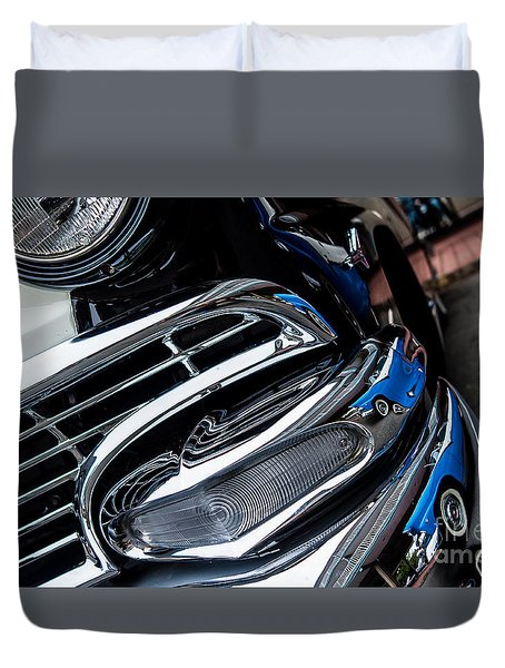 Duvet Cover featuring the photograph 1958 Ford Crown Victoria Reflection 2 by M G Whittingham