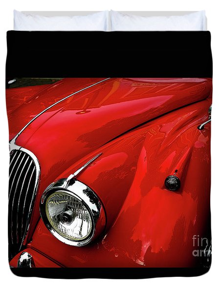 Duvet Cover featuring the photograph 1960s Jaguar by M G Whittingham