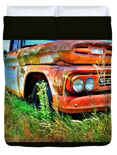 Duvet Cover featuring the photograph 1961 Chevrolet Apache 10 5 by Lisa Wooten