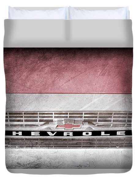 Duvet Cover featuring the photograph 1961 Chevrolet Corvair Pickup Truck Grille Emblem -0130ac by Jill Reger