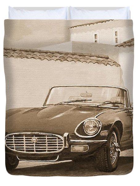 1961 Jaguar Xke Cabriolet In Sepia Duvet Cover