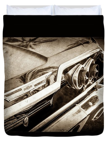 Duvet Cover featuring the photograph 1963 Chevrolet Taillight Emblem -0183s by Jill Reger