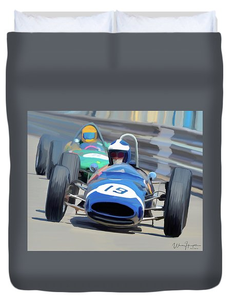 1963 Cooper T66 Coming Out Of Monaco's Mirabeau Duvet Cover by Wally Hampton