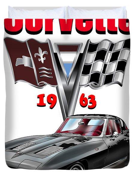 1963 Corvette With Split Rear Window Duvet Cover