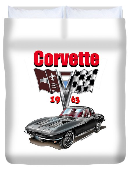1963 Corvette With Split Rear Window Duvet Cover