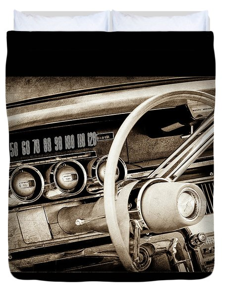 Duvet Cover featuring the photograph 1964 Ford Thunderbird Steering Wheel -0280s by Jill Reger