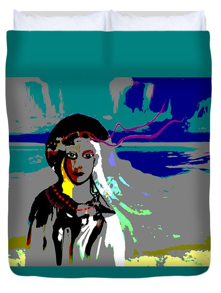 Duvet Cover featuring the digital art 1964 - Walk On The Seaside by Irmgard Schoendorf Welch