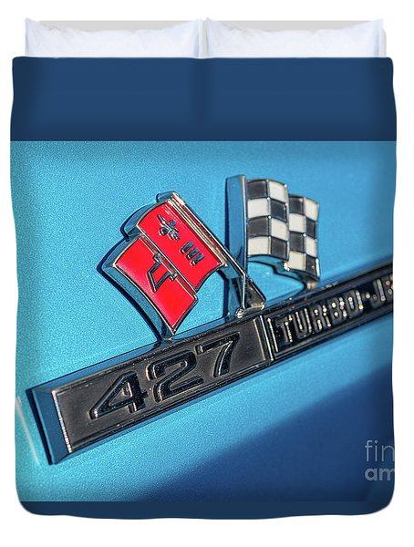Duvet Cover featuring the photograph 1965 Blue Corvette 427 Turbo Jet Emblem by Aloha Art