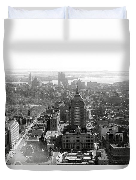 Duvet Cover featuring the photograph 1965 Boston Panorama by Historic Image