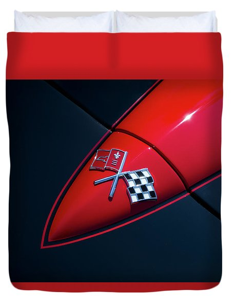 Duvet Cover featuring the photograph 1965 Corvette Hood by Joel Witmeyer