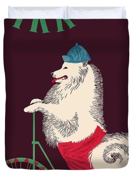1965 Cyrk Cycling Dog Polish Circus Poster Duvet Cover