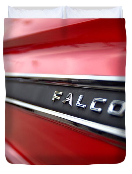 1965 Ford Falcon Name Plate Duvet Cover by Brian Harig
