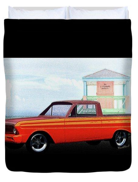 1965 Ford Falcon Ranchero Day At The Beach Duvet Cover