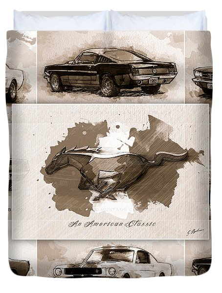 The 1965 Ford Mustang Collage I Duvet Cover