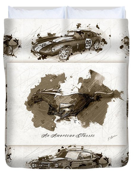 1965 Ford Mustang Collage II Duvet Cover