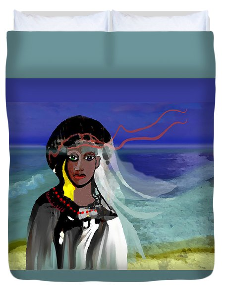 Duvet Cover featuring the digital art 1965 - Walk On The Oceanside by Irmgard Schoendorf Welch