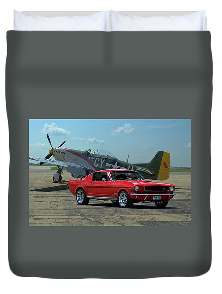 1965 Mustang Fastback And P51 Mustang Duvet Cover
