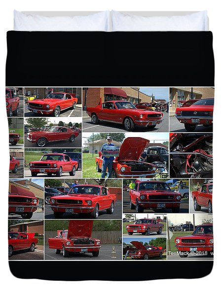 1965 Mustang Fastback Collage Duvet Cover