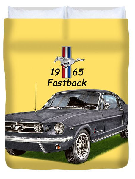1965 Mustang Fastback Duvet Cover by Jack Pumphrey