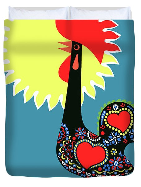 1965 Portugal Rooster Of Barcelos Travel Poster Duvet Cover