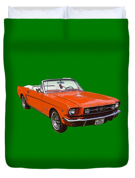 1965 Red Convertible Ford Mustang - Classic Car Duvet Cover