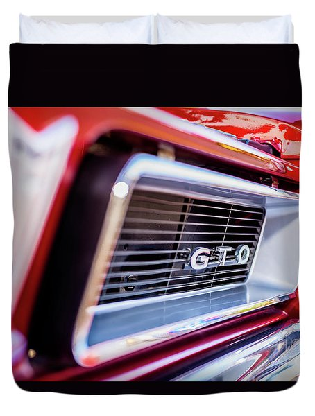 Duvet Cover featuring the photograph 1965 Red Gto Grill by Aloha Art